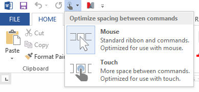 Office 2013 Mouse Touch Optimiser