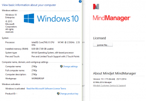 Windows 10 - MindManager 15 Installed